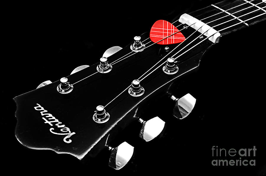 Bw Head Stock With Red Pick  Photograph  - Bw Head Stock With Red Pick  Fine Art Print