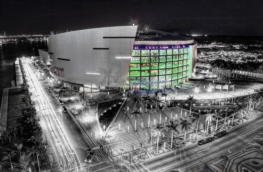 Bw Of American Airline Arena Photograph