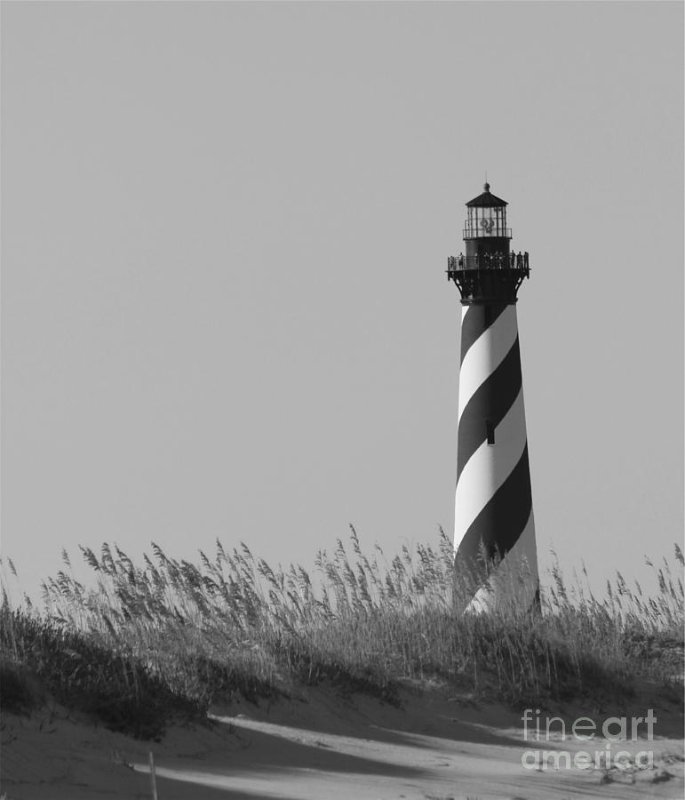 Bw Of Hatteras Lighthouse Photograph  - Bw Of Hatteras Lighthouse Fine Art Print