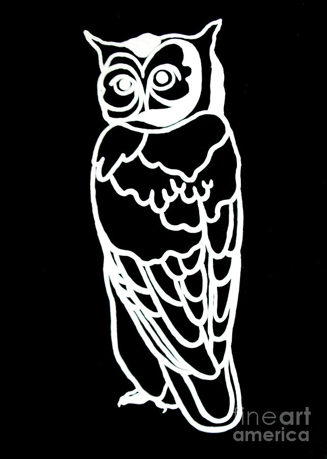 Bw Owl Painting