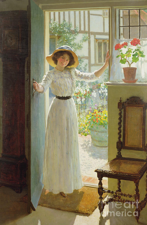Door Painting - By The Cottage Door by William Henry Margetson