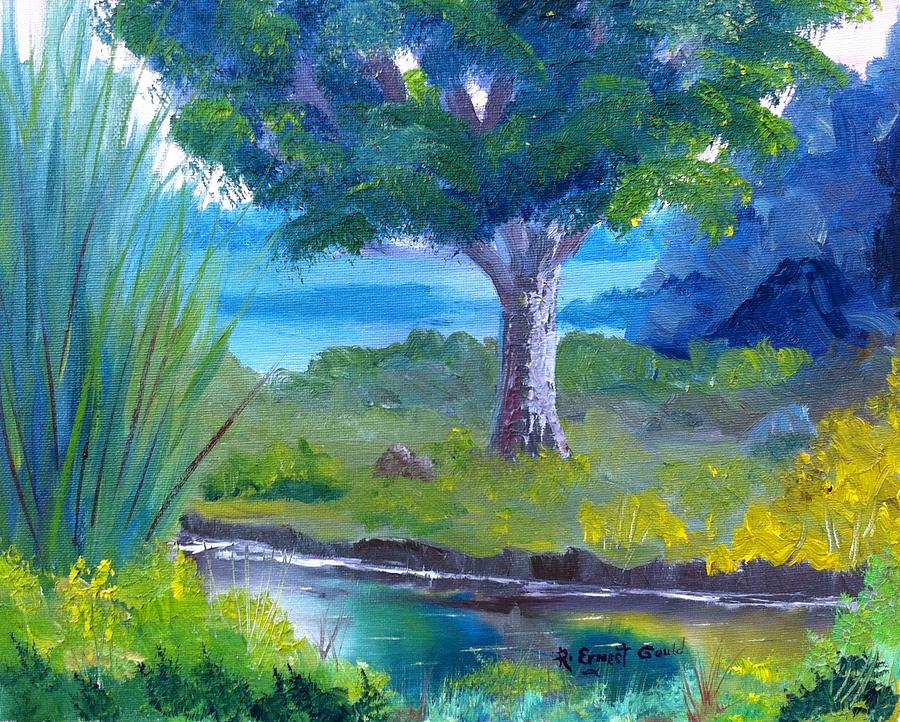 Landscape Painting - By The Creek by Roy Gould