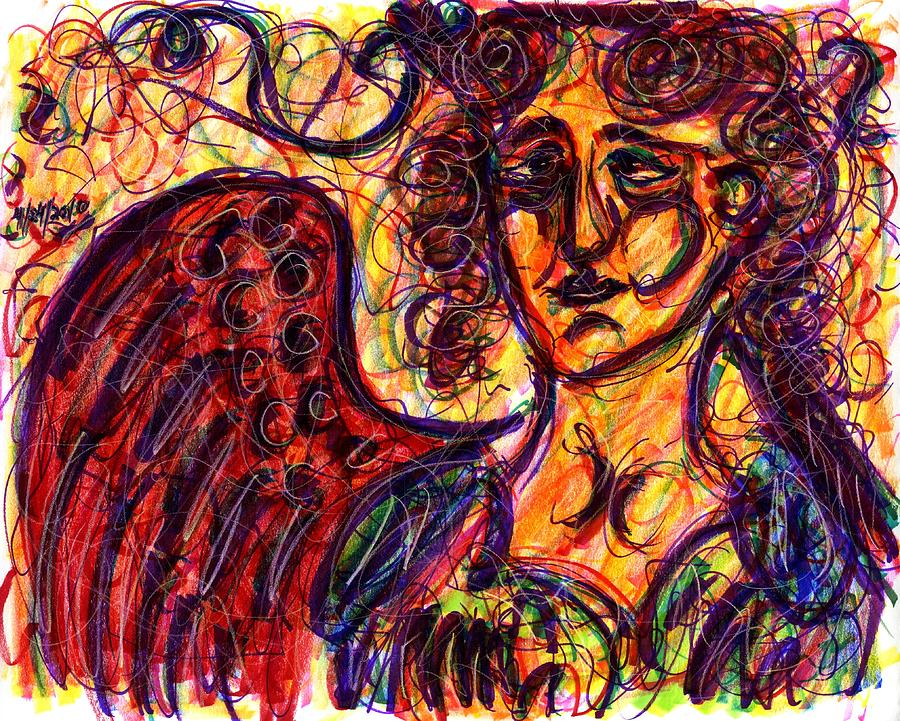 Angel Drawing - Byzantine Angel by Rachel Scott