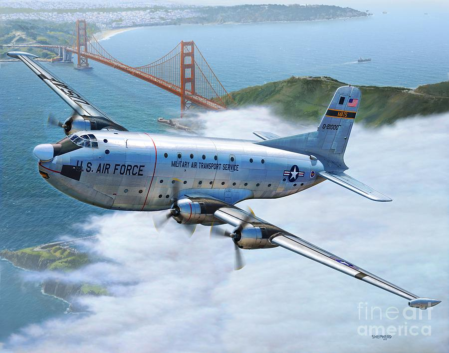 C-124 Shakey Over The Golden Gate Digital Art