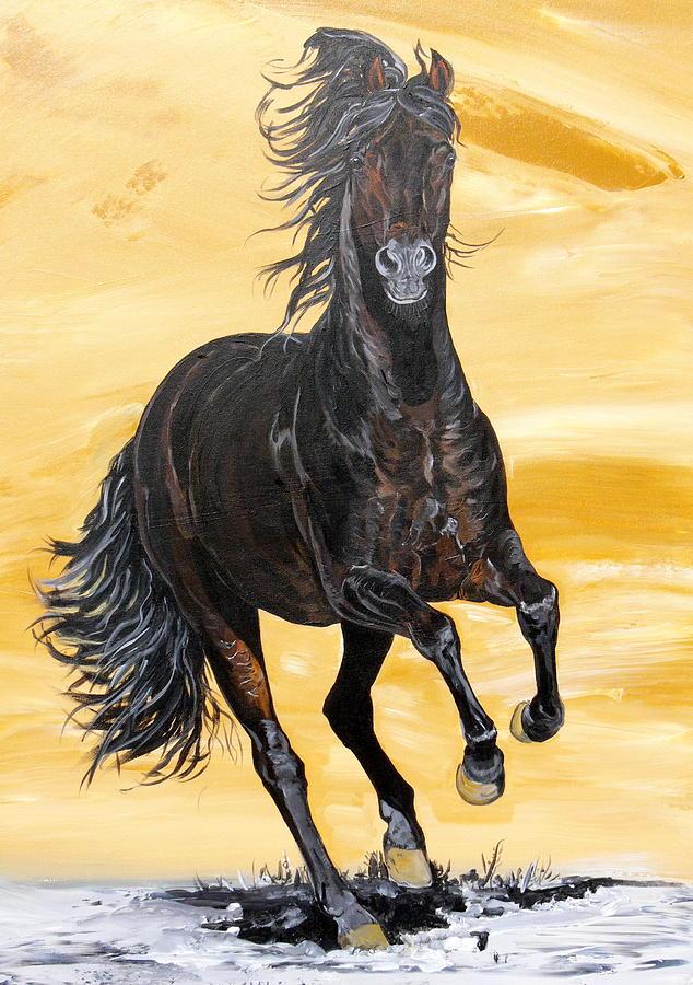 Horse Original Painting Painting - Caballo Para El Rey by Janina  Suuronen