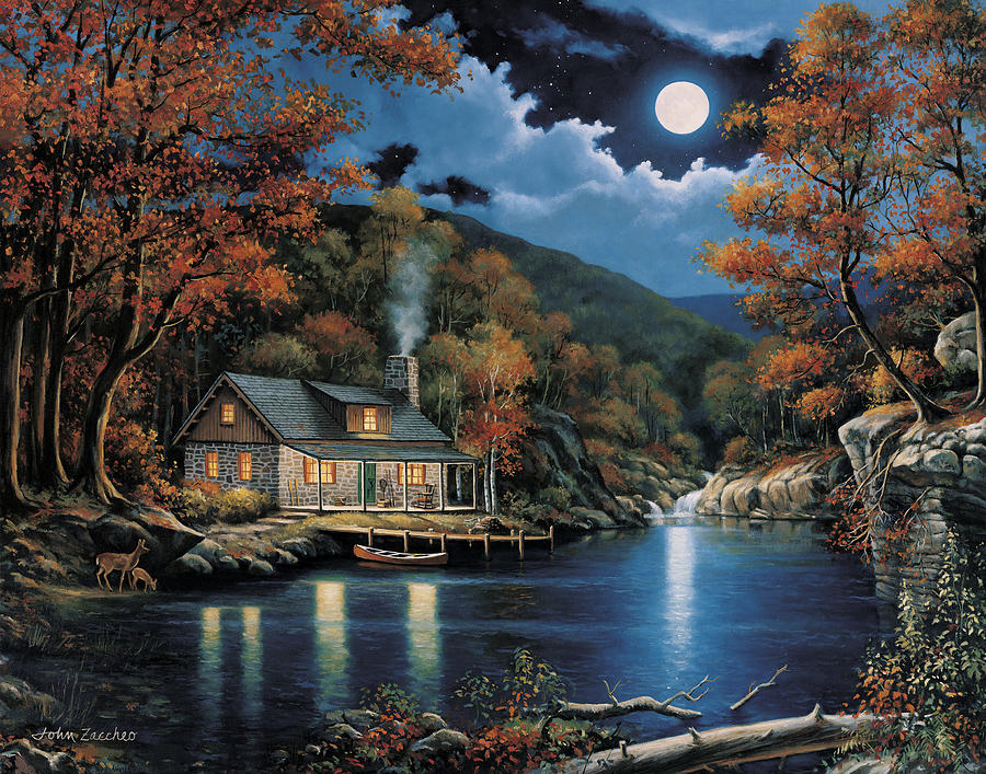 Cabin By The Lake Painting