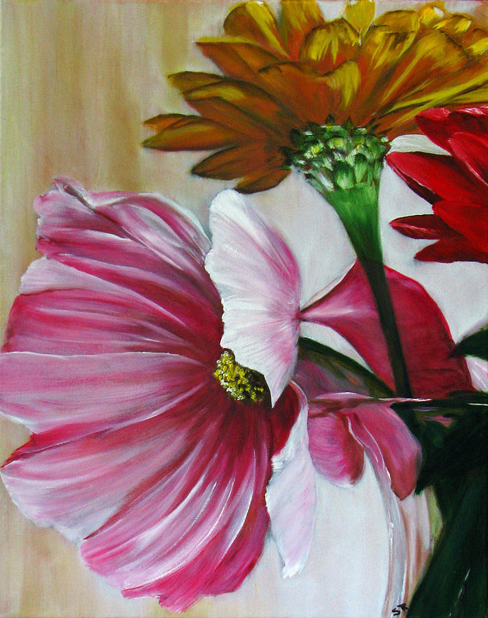 Cabin Flowers Painting  - Cabin Flowers Fine Art Print