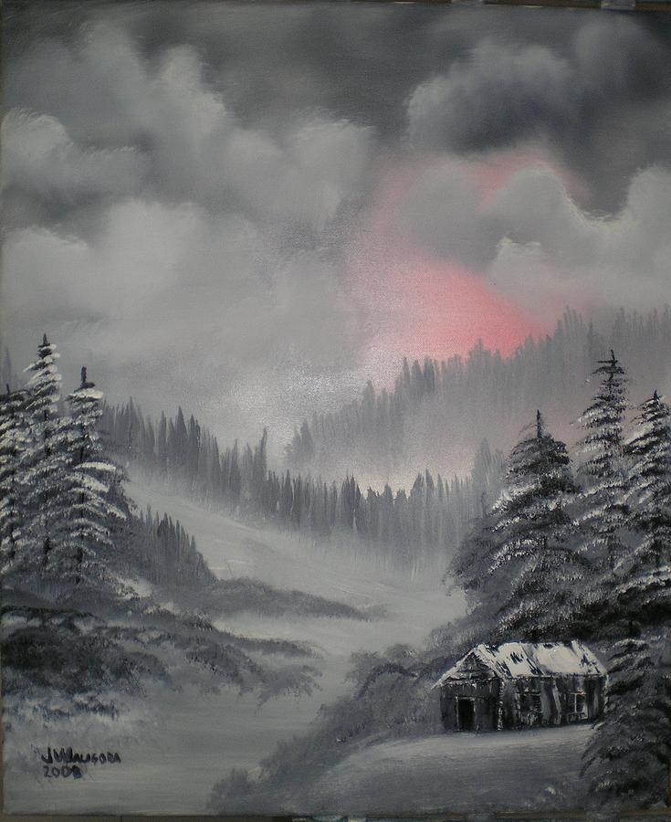 Cabin In The Winter Forset Painting  - Cabin In The Winter Forset Fine Art Print