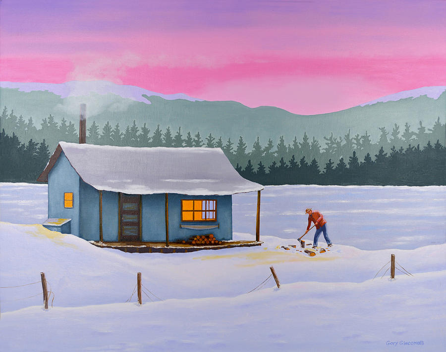 Cabin On A Frozen Lake Painting