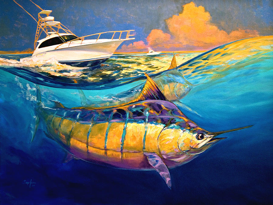 Cabo Forty Four Contemporary Marlin And Cabo Yacht Art Painting  - Cabo Forty Four Contemporary Marlin And Cabo Yacht Art Fine Art Print