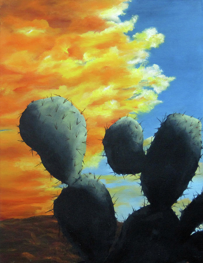 Cacti Painting - Cacti At Sunset by Roseann Gilmore