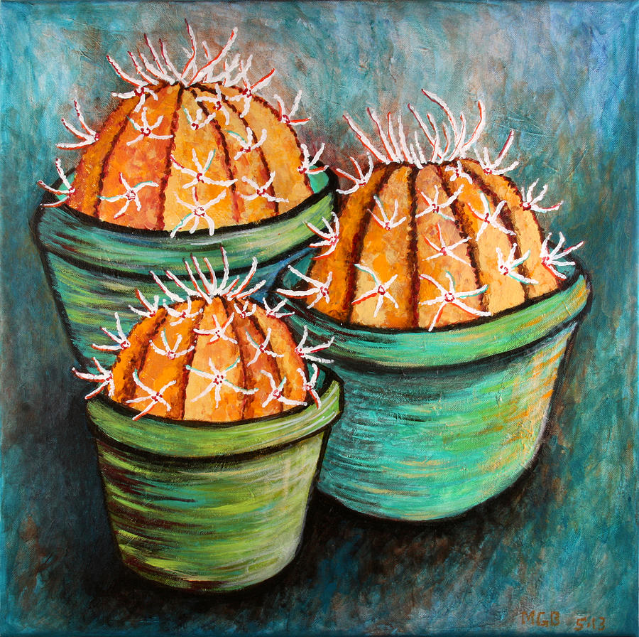 cactus abstract 3 painting by michelle boudreaux