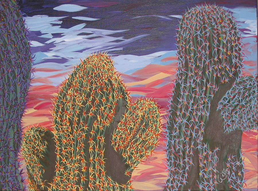 Cactus Of Color 1 Painting