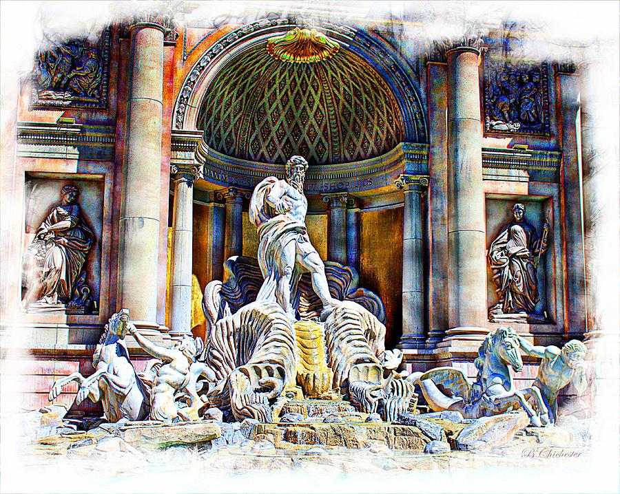 Caesars Fountain Painting  - Caesars Fountain Fine Art Print