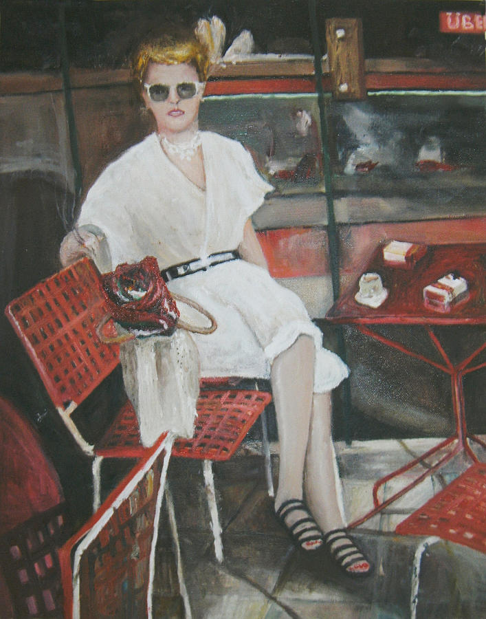 Portrait Of Woman Having Coffee At A Cafe On Top Of Budapest's Metro Station Painting - Cafe Budapest by Vasiliki Yiakatou