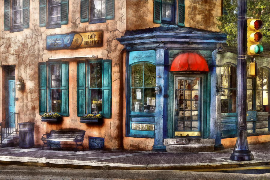 Savad Photograph - Cafe - Cafe America by Mike Savad