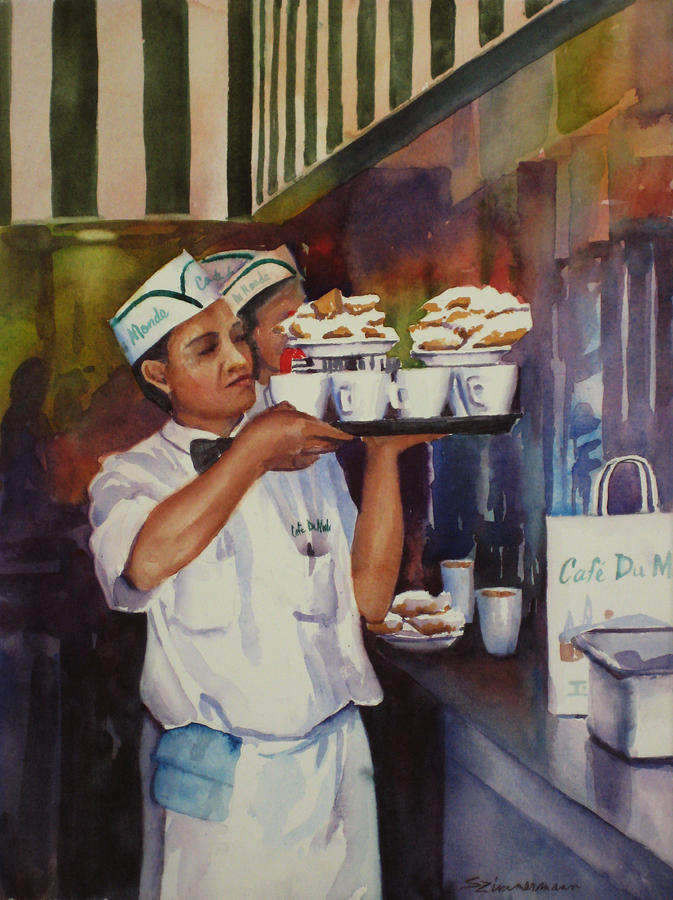 Cafe du monde painting by sue zimmermann for Art du monde