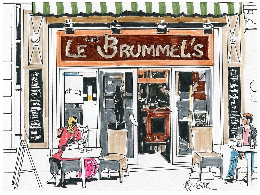 Cafe Le Brumel's Paris France Drawing by Paul Guyer