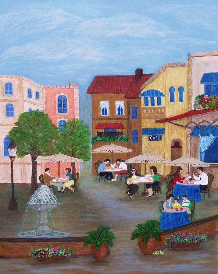 Cafe Moments Painting  - Cafe Moments Fine Art Print