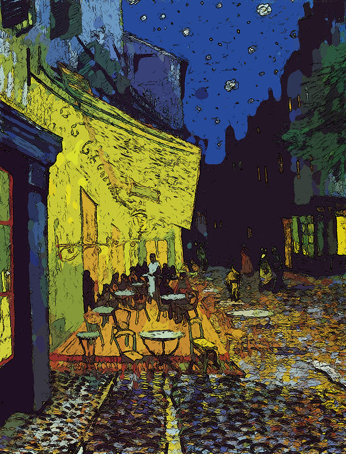 Cafe Terrace Arles Comic Style Painting