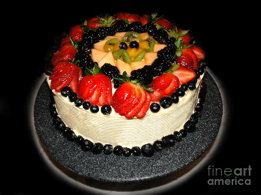 Cake Decorated With Fresh Fruit Photograph  - Cake Decorated With Fresh Fruit Fine Art Print