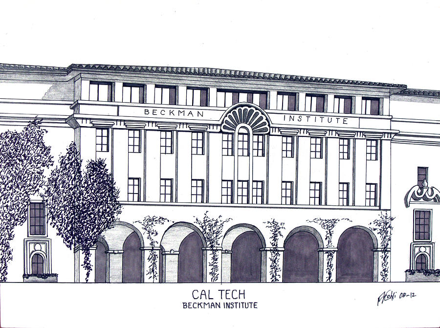 Cal Tech Beckman Drawing  - Cal Tech Beckman Fine Art Print