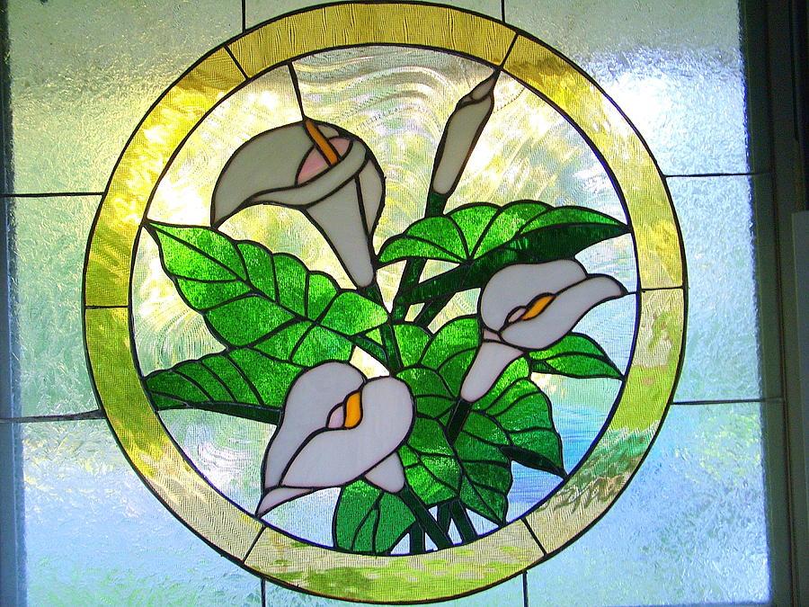 Stainglass Cala Lily. Glass Art - Cala Lily Glass by Jeff Ekstrand
