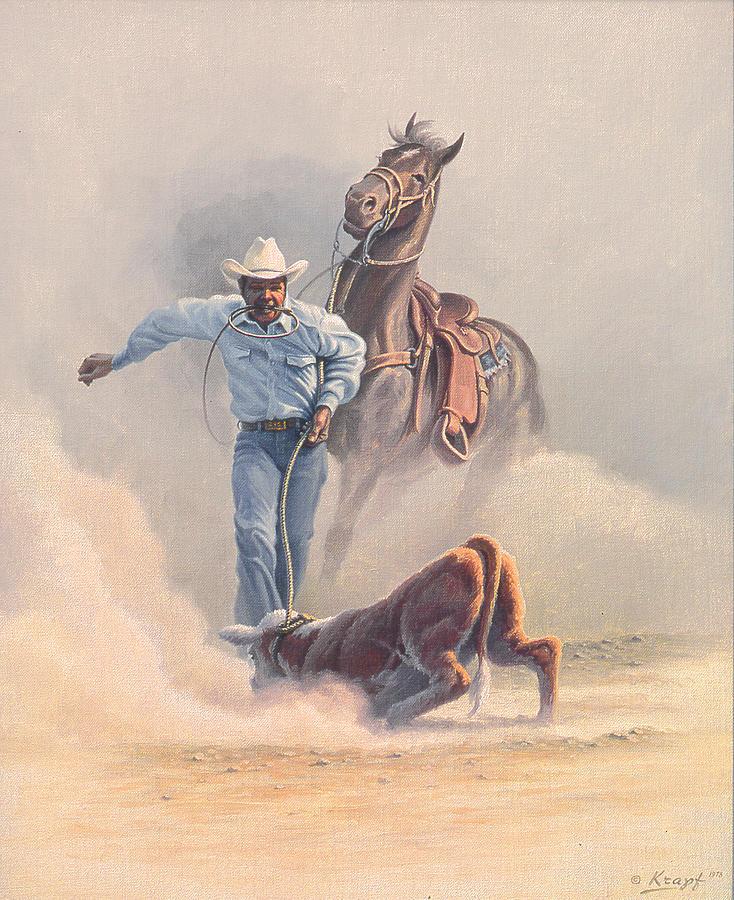 Cowboy Painting - Calf Roper by Paul Krapf