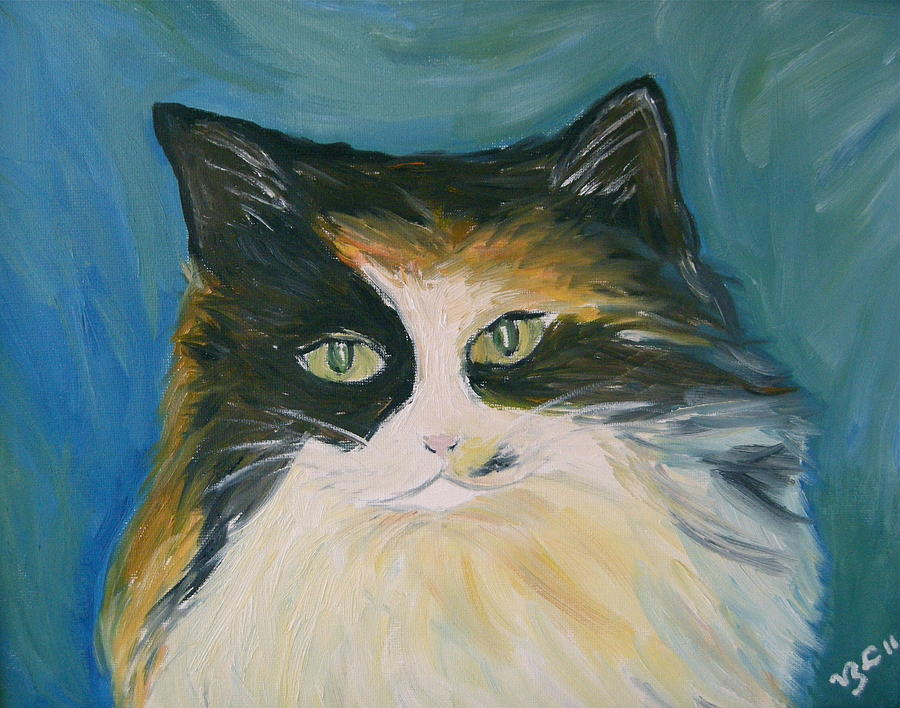 Calico Cat Painting - Cali by Victoria Lakes
