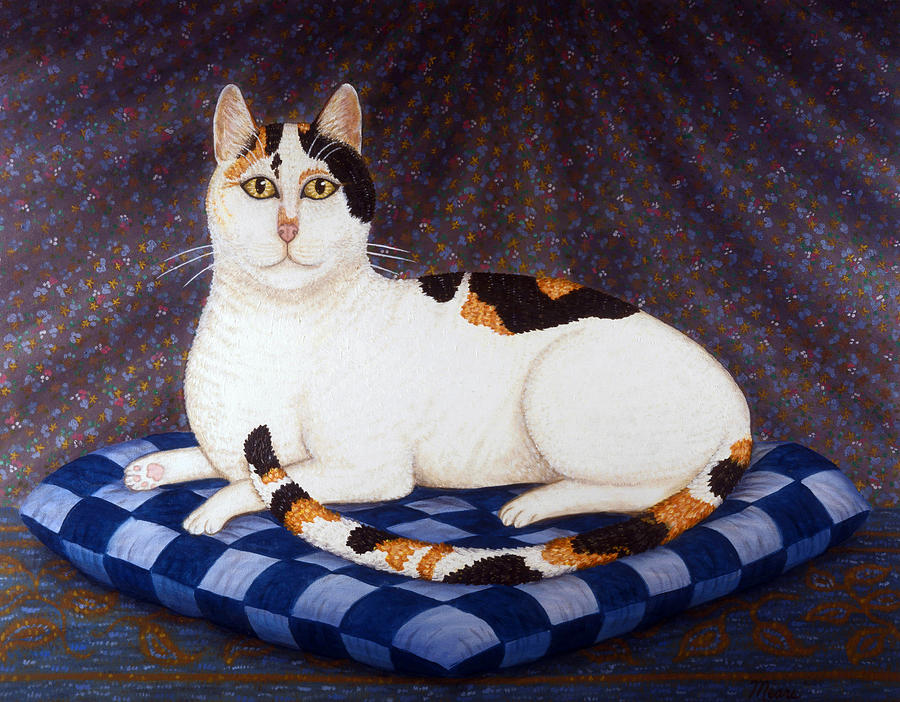 Calico Cat Portrait Painting  - Calico Cat Portrait Fine Art Print