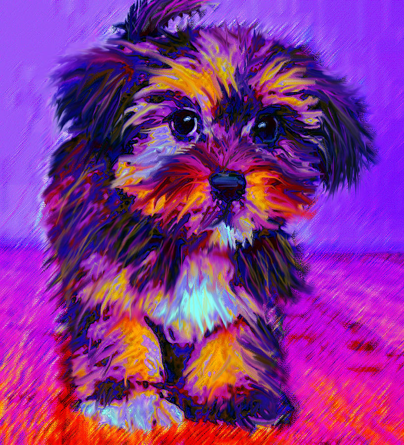 Calico Dog Digital Art  - Calico Dog Fine Art Print
