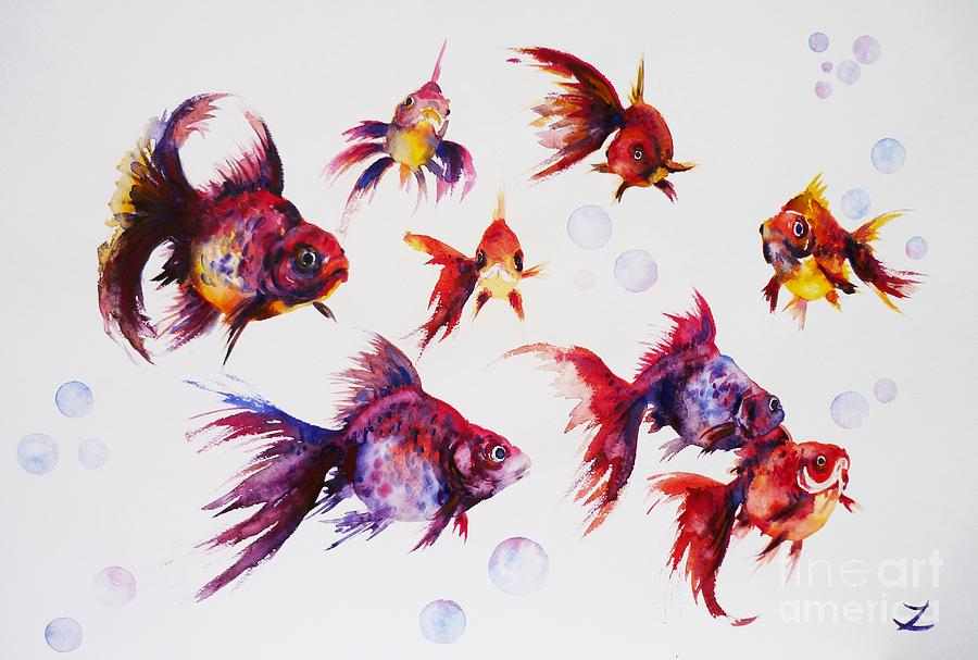 Calico Ryukin Goldfish Painting by Zaira Dzhaubaeva - Calico Ryukin Goldfish Fine Art Prints and Posters for Sale