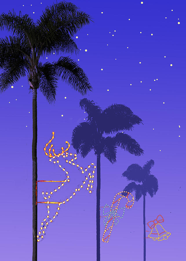 California Christmas Palm Trees Painting by Mary Helmreich