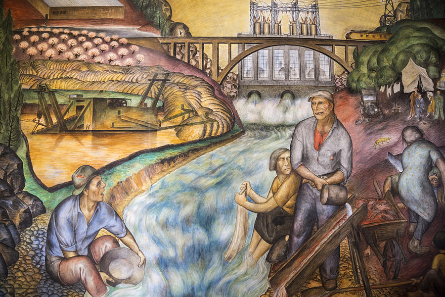 California Industrial Scenes Mural In Coit Tower Painting