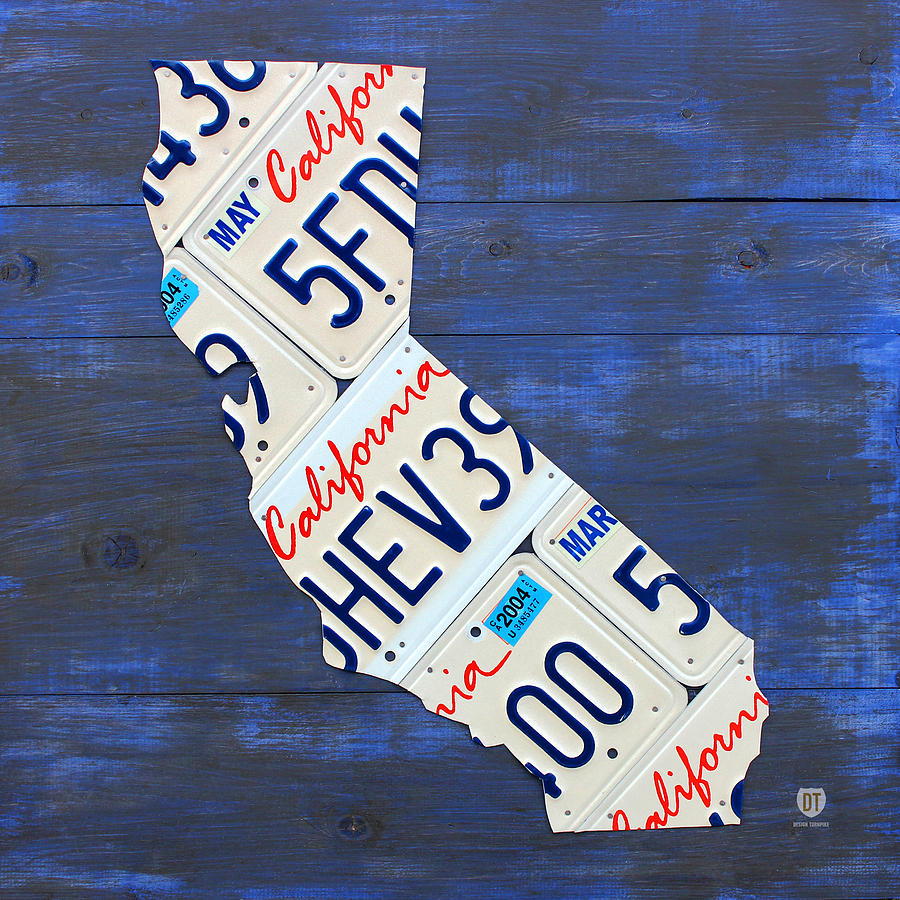 California License Plate Map On Blue Mixed Media  - California License Plate Map On Blue Fine Art Print