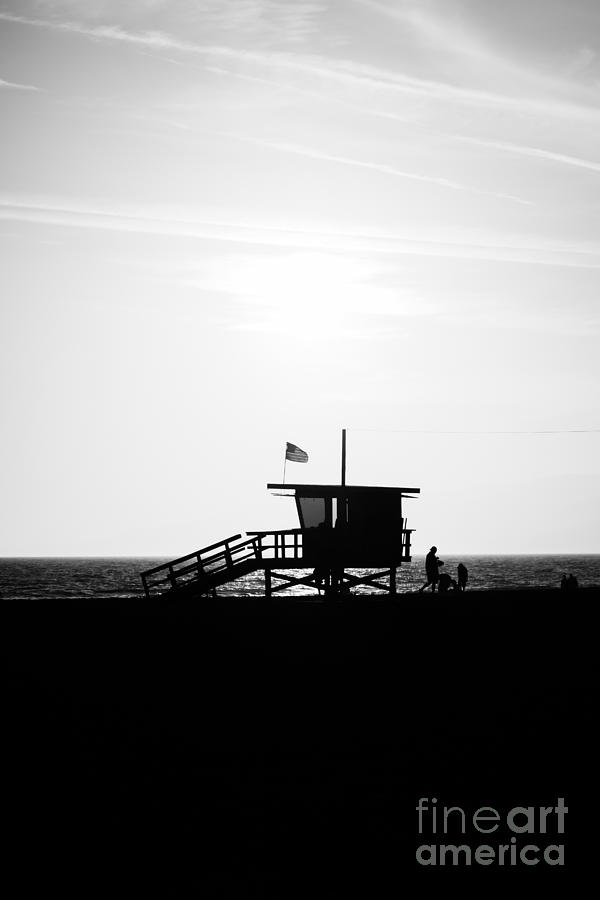 California Lifeguard Stand In Black And White Photograph