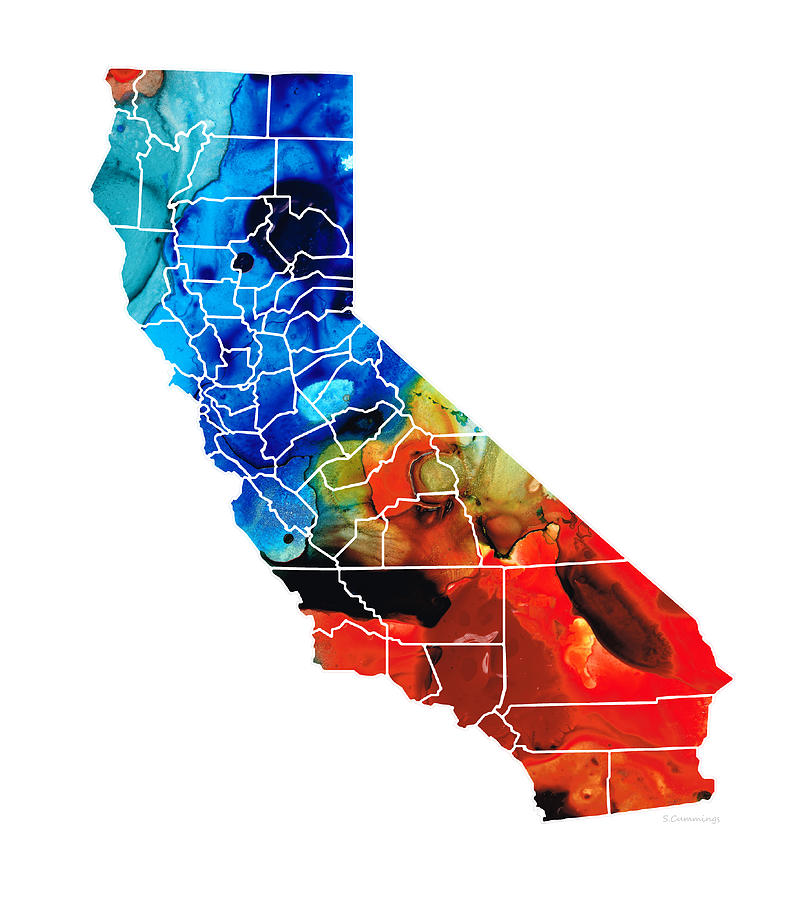 California - Map Counties By Sharon Cummings Painting