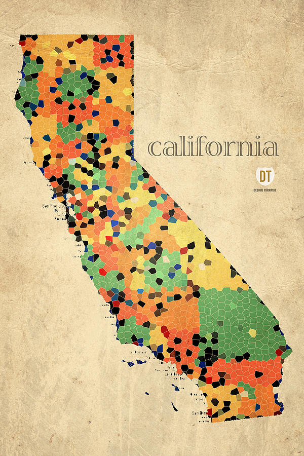 California Map Crystalized Counties On Worn Canvas By Design Turnpike Mixed Media
