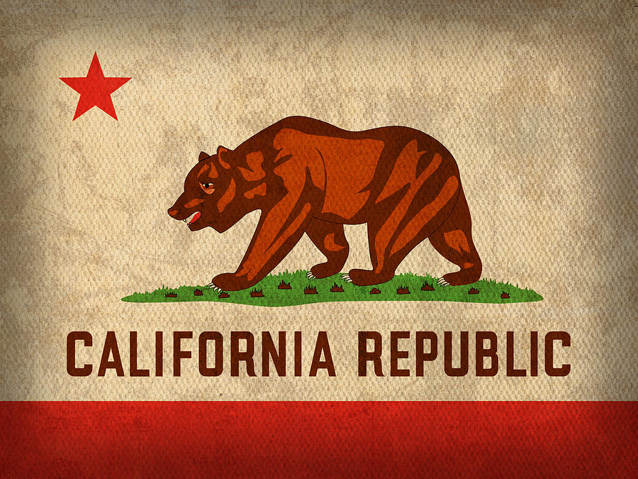 California state flag art on worn canvas mixed media by for Designers art of california