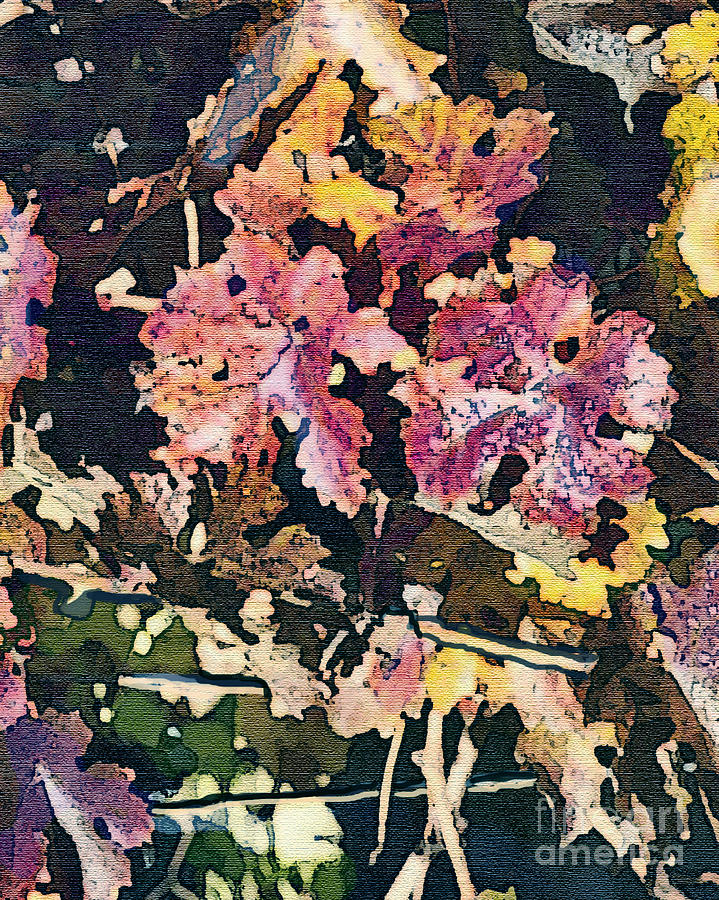 California Vineyard Series Fall Grape Leaves Painting  - California Vineyard Series Fall Grape Leaves Fine Art Print
