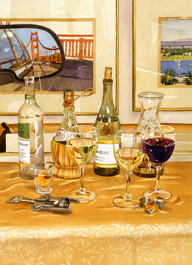 California Wine And Watercolors Painting  - California Wine And Watercolors Fine Art Print