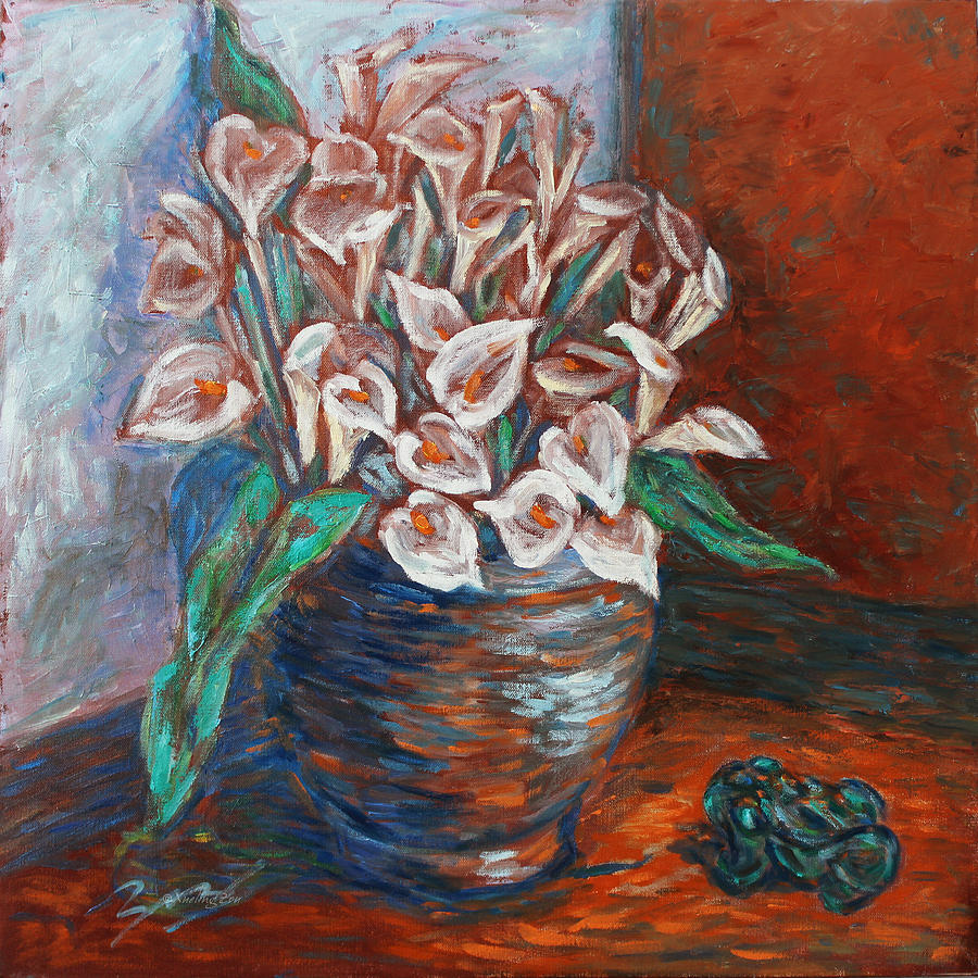 Calla Lilies And Frog Painting  - Calla Lilies And Frog Fine Art Print