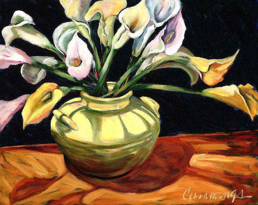 Callas - Floral Art By Betty Cummings Painting  - Callas - Floral Art By Betty Cummings Fine Art Print