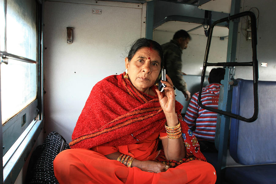 Indian Rail Photograph - Calling From The Train by Amanda Stadther