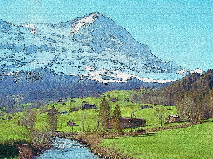 Calm Blue River Watercolor Photograph