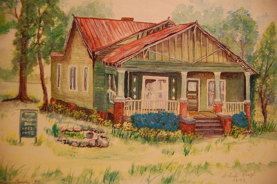 First Black Doctor In Greensbobo Painting - Calvin Baber House by Lynn Beazley Blair