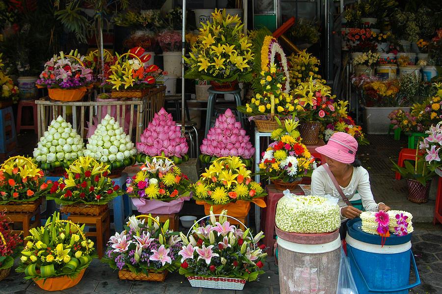Cambodia Flower Seller Photograph