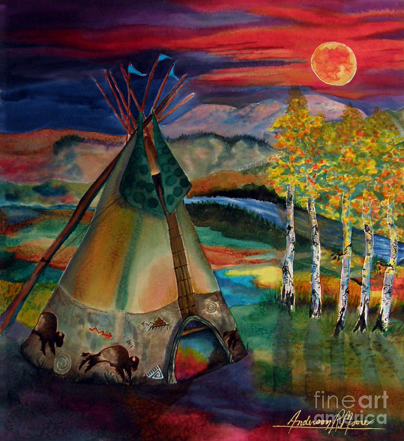 camp of the hunting moon painting by anderson r moore. Black Bedroom Furniture Sets. Home Design Ideas