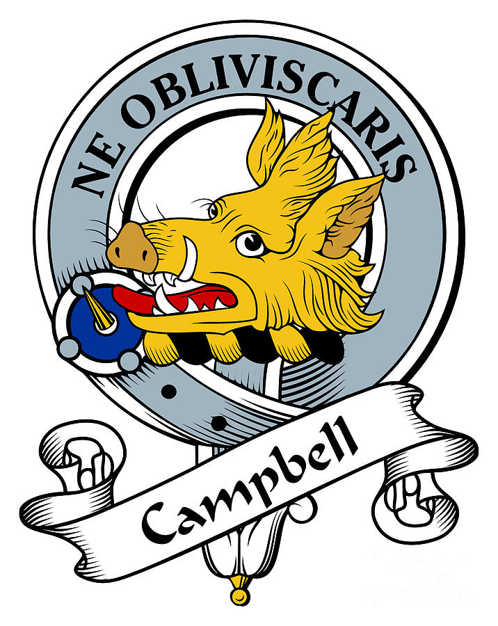 Campbell Clan Badge Drawing  - Campbell Clan Badge Fine Art Print