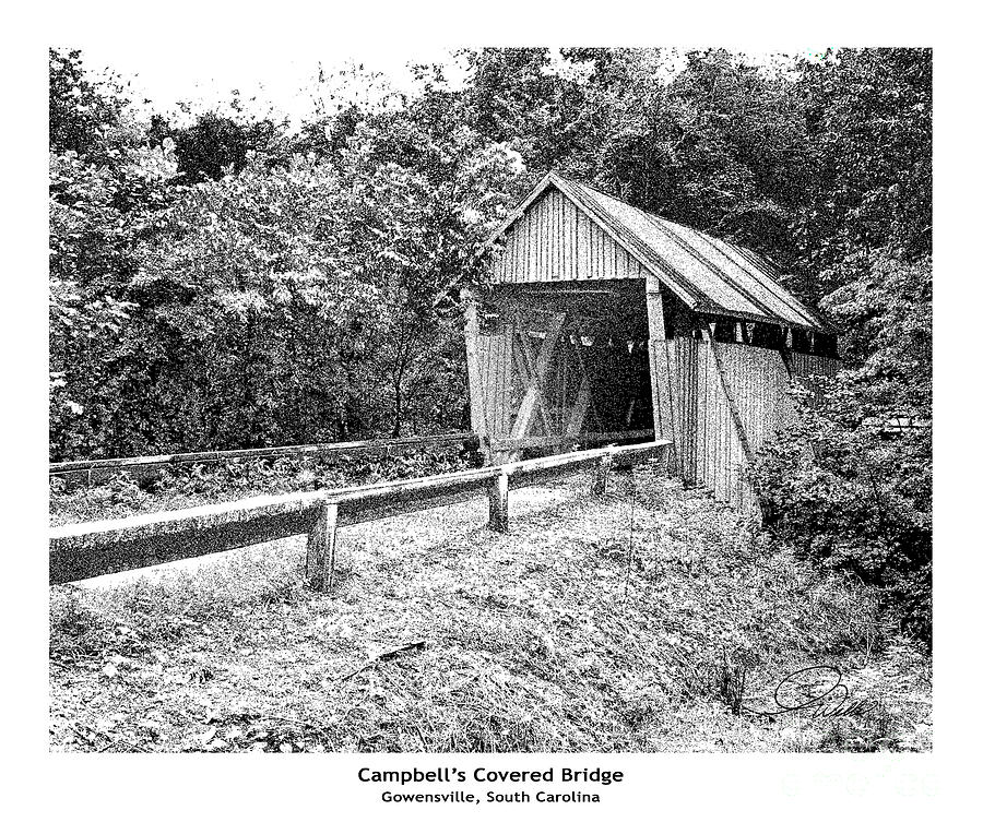 Campbells Covered Bridge - Architectural Renderings Detail Mixed Media  - Campbells Covered Bridge - Architectural Renderings Detail Fine Art Print